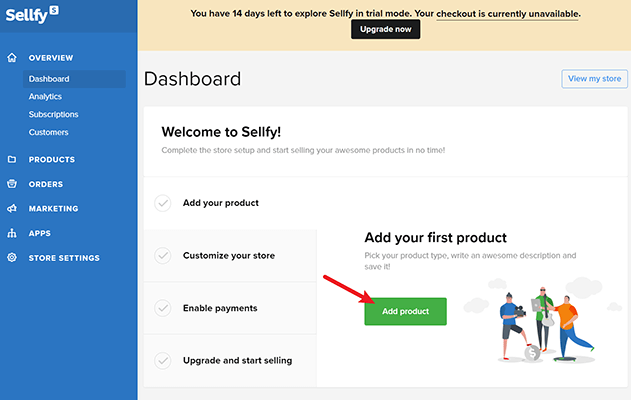 add first sellfy product