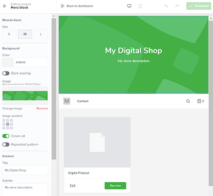 customize frontend of sellfy store