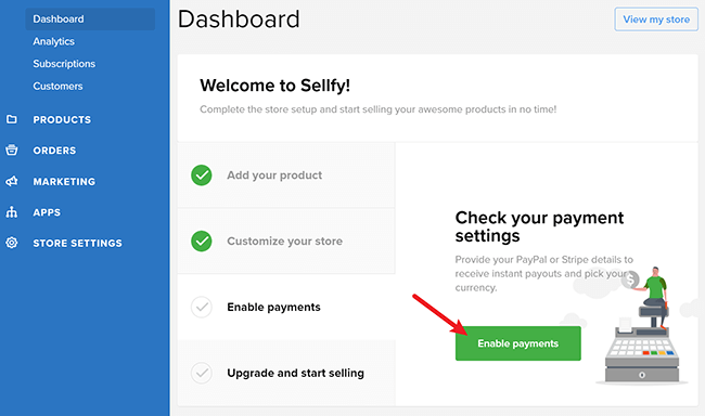 enable payments in sellfy shop