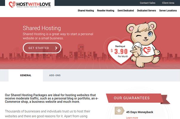 hostwithlove shared hosting