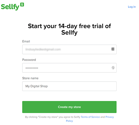 sellfy account sign up
