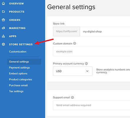 store settings in dashboard of sellfy