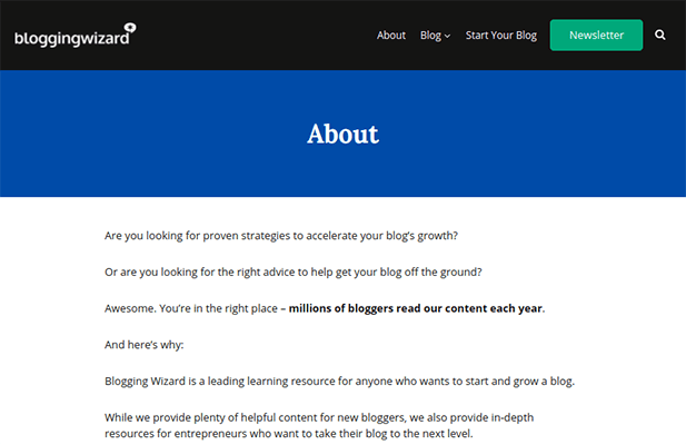 blogging wizard about page