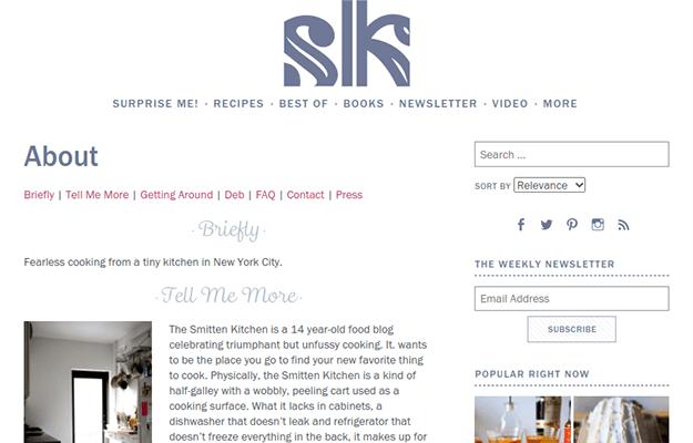 smitten kitchen about page