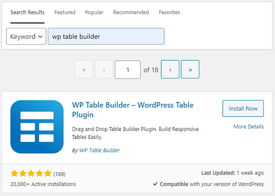 02 Search WP Table Builder