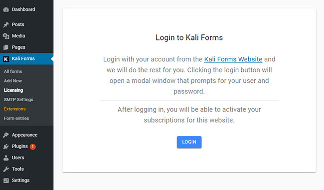 Activate your Kali Forms license