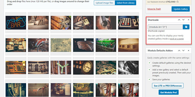 Copy the generated shortcode into gallery page