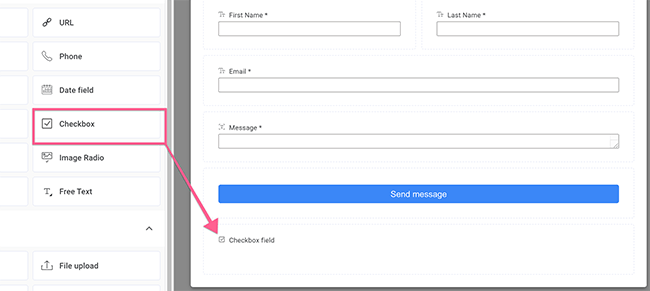 Drag Checkbox field to the bottom of your form
