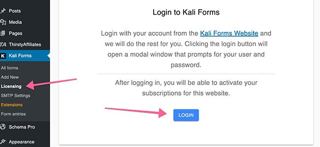 Log into Kali Forms via licensing