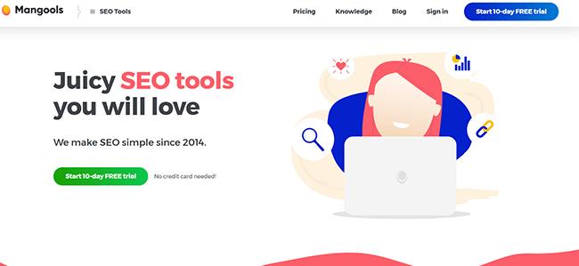 Mangools Homepage
