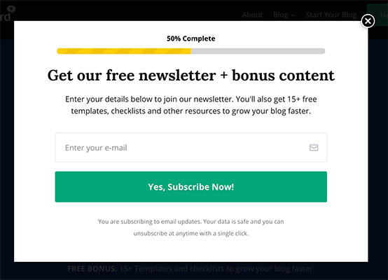 Popover to join email list
