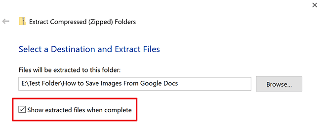 show extracted files checkbox