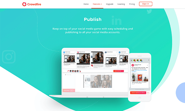 Crowdfire Publish Homepage