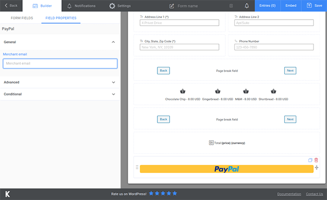 kali forms paypal field