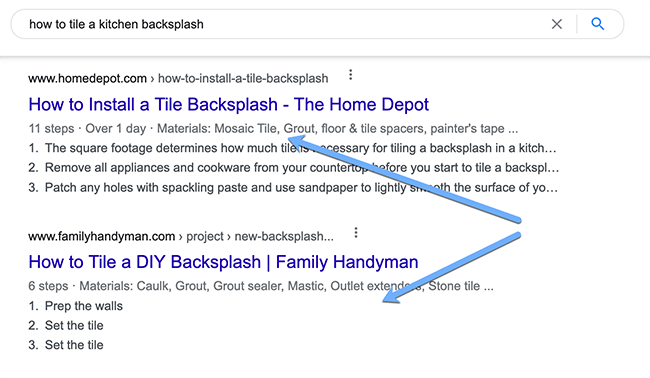 HowTo Schema in Google search results