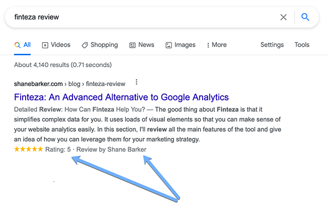 Review Rich Snippet in Google search results