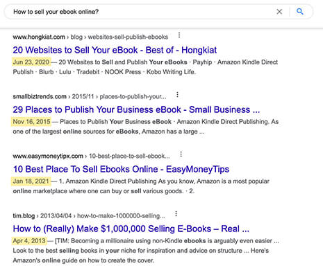 Showing the publication date in Google results