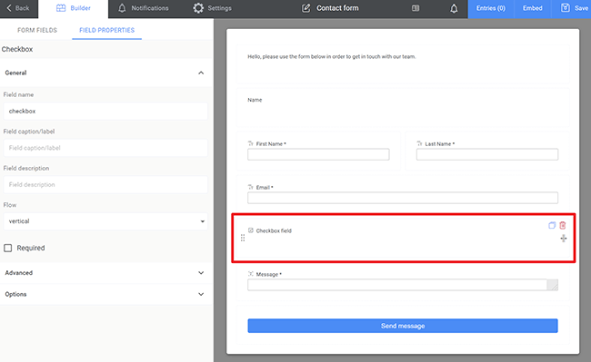 customize contact form fields