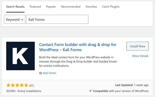 install and activate kali forms contact form plugin