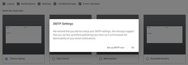 set up smtp settings