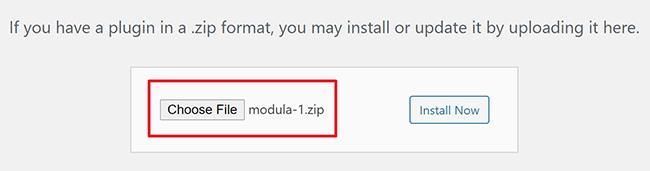 upload pre version of modula to wordpresss