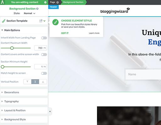 Customize templates via drag and drop builder