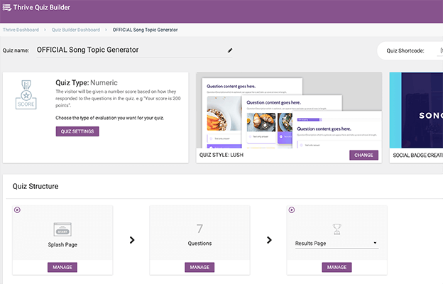 Making a quiz with Thrive Quiz Builder