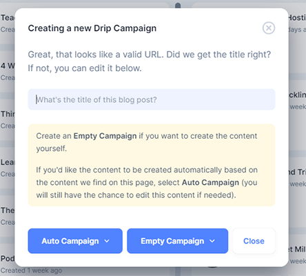 Create a new drip campaign with Missinglettr