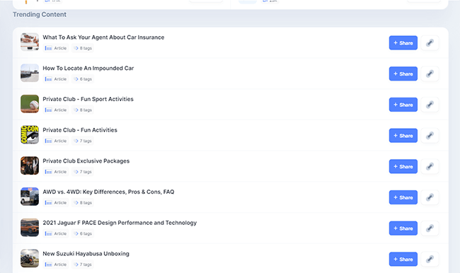 Trending content and subcategories in Curate