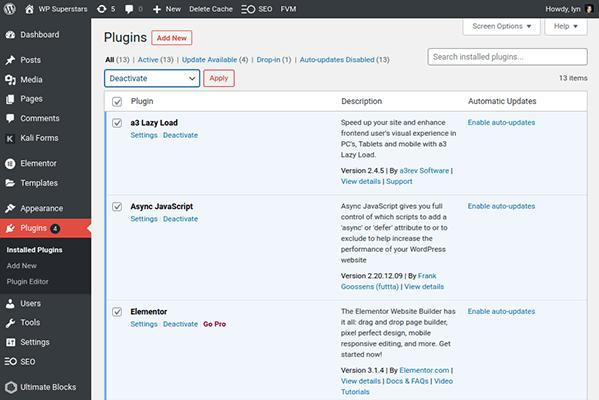 deactivate wordpress plugins dashboard