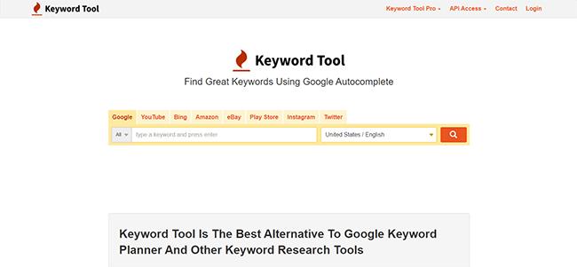 Keyword Tool Homepage