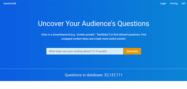 QuestionDB Homepage