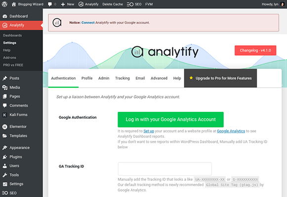analytify wordpress plugin settings