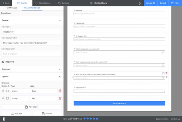 kali forms customer feedback