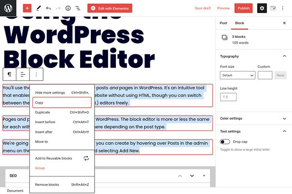 wordpress block editor group paragraph blocks