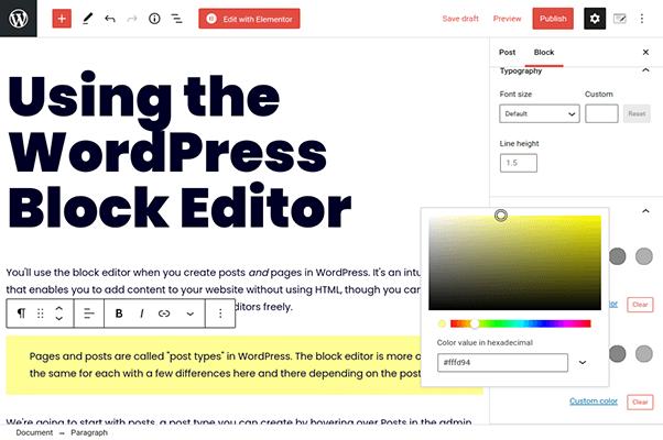 wordpress block editor paragraph block colors
