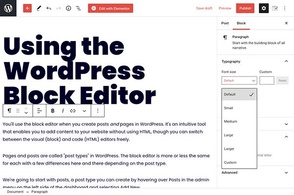 wordpress block editor paragraph block settings