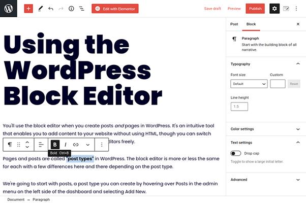 wordpress block editor paragraph toolbar
