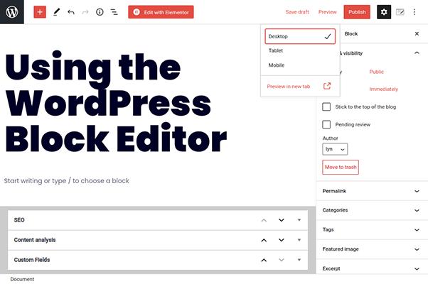 wordpress block editor preview draft