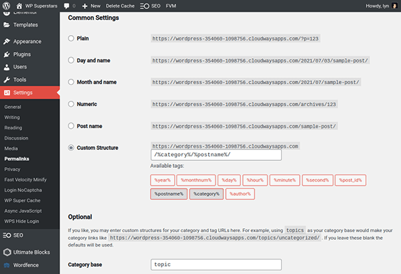wordpress category permalink structure