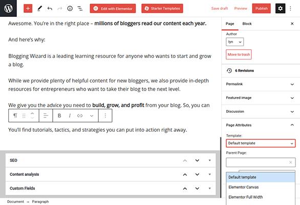 wordpress page template attributes