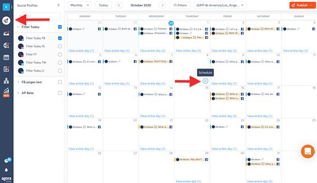 Agorapulse social media calendar example