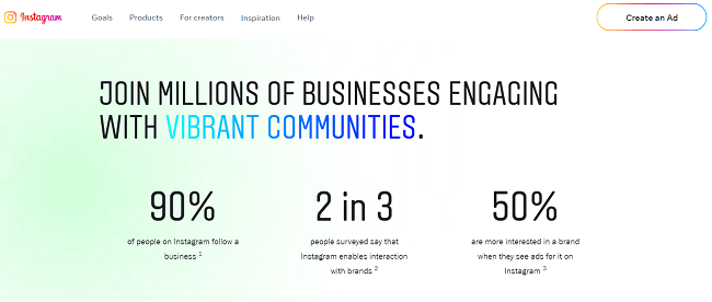 90% of Instagram users follow a business