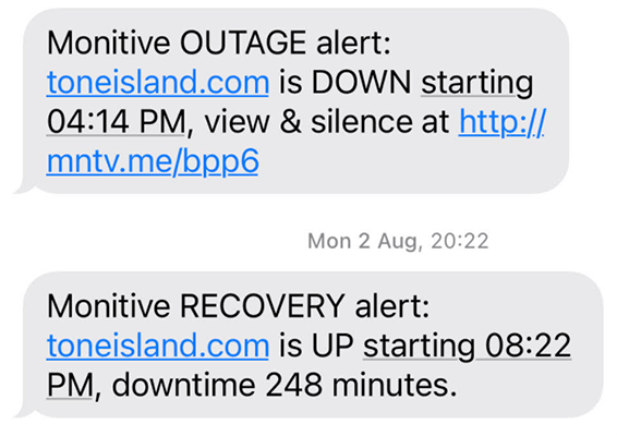 SMS alert of downtime
