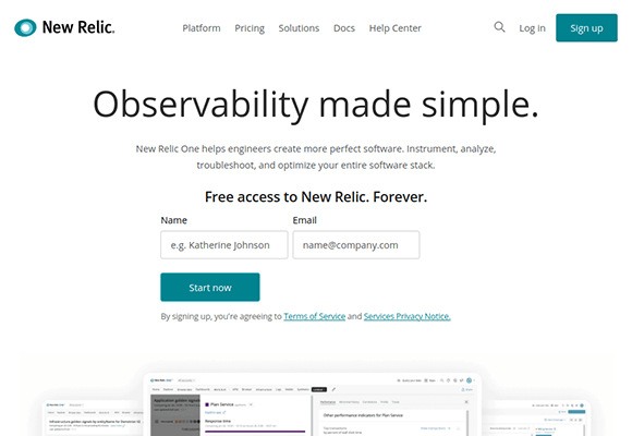 new relic homepage