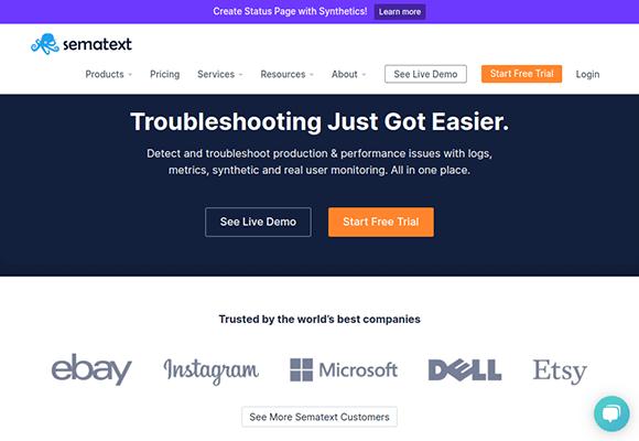 sematext homepage