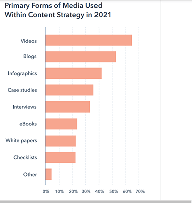 Video was the primary form of media used within marketing strategies in 2021
