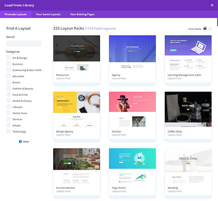 divi template library
